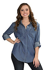 Velvet Heart Women's Split Back Denim Top