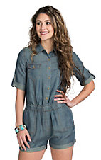 Velvet Heart Women's Short Sleeve Denim Romper