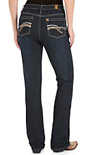 Wrangler Aura Women's Dark Wash with Metallic Embroidered Pockets Instantly Slimming Boot Cut Jean
