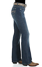 Wrangler Aura Women's Oceantide Blue with Embroidered Pockets Instantly Slimming Ladies Jean