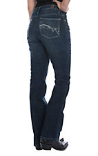 Aura Women's Dark Instantly Slimming Studded Open Pocket Boot Cut Jeans