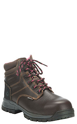 "Wolverine Piper Women's Brown Waterproof Round Composite Toe 6"" Lace Up Work Boots"