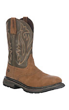Wolverine Mens Brown Javelina w/ Green Top Square Steel Toe Wellington Work Boots