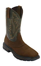 Wolverine Mens Brown Javelina w/ Green Top Square Toe Wellington Work Boots