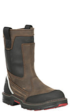 Wolverine Work Men's Overman Brown and Black with Round Toe Work Boots