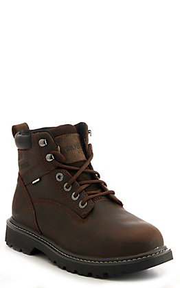 Wolverine Men's Floorhand Brown Waterproof Round Steel Toe Lace Up Work Boot