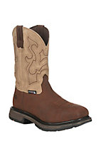 Wolverine Work Men's Lariat Brown and Sand with Square Toe Work Boots