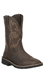 Wolverine Work Men's Rancher Brown with Western Square Toe Work Boots