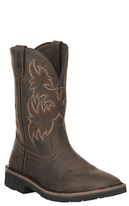 Wolverine Men's Rancher Brown Square Toe Wellington Work Boot