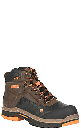 Wolverine Men's Overpass Brown and Orange Round Composite Toe Lace Up Work Boot