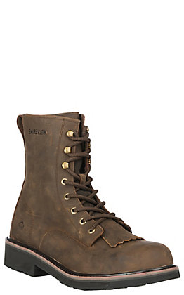 Wolverine Men's Ranchero Brown Round Steel Toe Lace Up Work Boot
