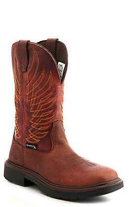 Wolverine Men's Brown and Chili Red Durashock Waterproof Composite Wide Square Toe Work Boot