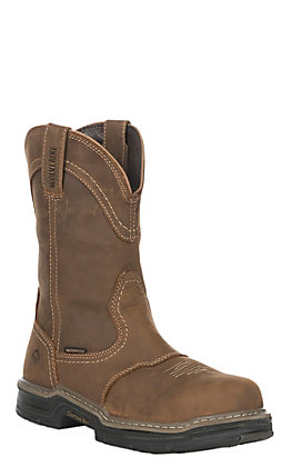 Wolverine Anthem Men's Tan Waterproof Round Steel Toe Wellington Work Boots