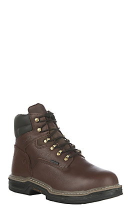 "Wolverine Darco Men's Brown Waterproof Round Steel Toe 6"" Lace Up Work Boots"