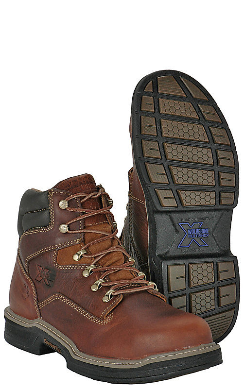 58405128554 Wolverine Raider Men's Brown Round Steel Toe 6