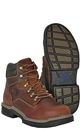 Wolverine Men's Raider Brown Round Steel Toe Lace Up Work Boot