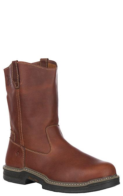ca9e05318ad Wolverine Raider Men's Brown Round Steel Toe Wellington Work Boots
