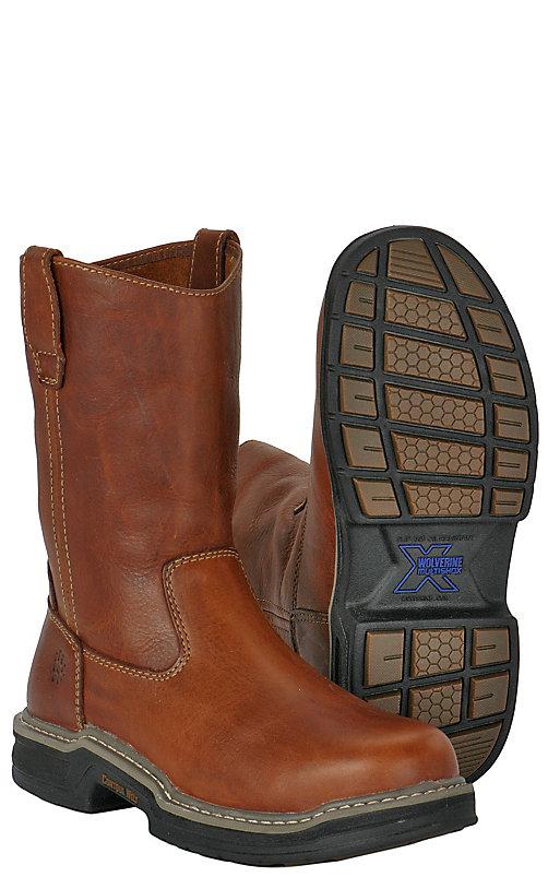 01588ee9975 Wolverine Raider Men's Brown Round Soft Toe Wellington Work Boots