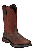XSM Wolverine Mens Dark Brown with Red Javelina Top Square Toe Western Wellington Boot