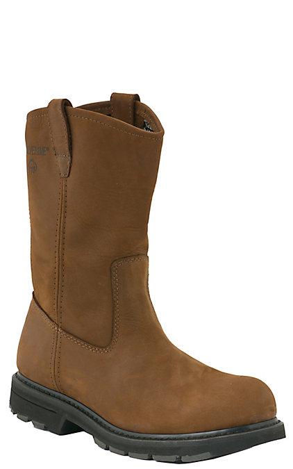5aee2f49544 Wolverine DD Men's Brown Round Steel Toe Wellington Work Boots
