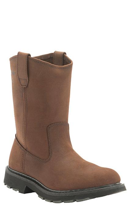 a7fd323e3f1 Wolverine DD Men's Brown Round Soft Toe Wellington Work Boots