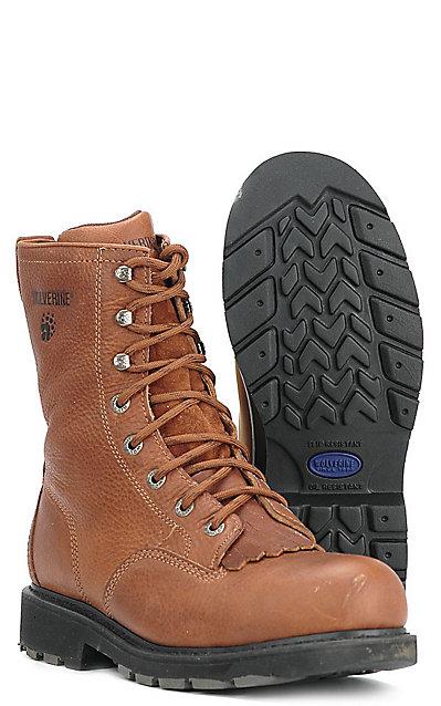 d374394a7f6 Wolverine Mens 8'' Slip Resistant Kiltie Lacer Steel Toe -Tan