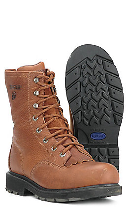Wolverine Men's Herrin Brown Round Steel Toe Lace Up Work Boot