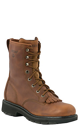 Wolverine Men's Kiltie Tan 8 Inch Lace Up Slip Resistant Round Toe Work Boots