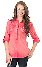 Roar Women's Pink Brillance Embroidered Long to 3/4 Sleeve Western Shirt