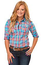 Roar Women's Turquoise & Orange Plaid Ari Embroidered Long to 3/4 Sleeve Western Shirt