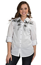 Roar Women's White Spuring Roses Western Shirt