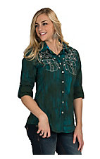 Roar Women's Hunter Green Affluence Embroidered Western Shirt