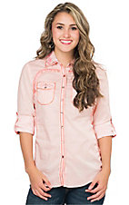 Roar Women's Pale Pink Brilliant Embroidered Long to 3/4 Sleeve Western Shirt