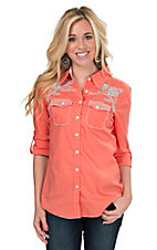 Roar Women's Coral Shining Beacon Embroidered Long to 3/4 Sleeve Western Shirt