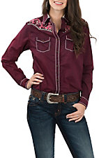 Cowgirl Legend Women's Maroon Wash w/ Embroidery and Stones L/S Western Shirt