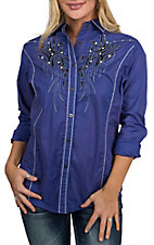 Cowgirl Legend Women's Purple Wash w/ Embroidery and Stones L/S Western Shirt