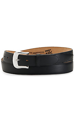 Tony Lama Men's Longhorn Black Leather with Silver Buckle Belt