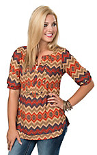 Angie Women's Rust Zig Zag Studded Elbow Sleeve Fashion Top