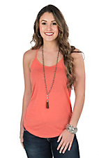 Angie Women's Coral Solid Spaghetti Strap Casual Knit Top