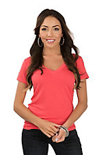 Angie Women's Coral V-Neck Casual Knit Shirt