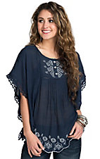 Angie Women's Navy Embroidered Flutter Top