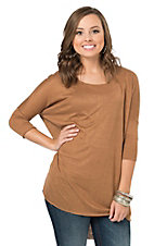 Angie Women's Camel Scoop Neck 3/4 Dolman Sleeve Knit Tunic Casual Knit Top