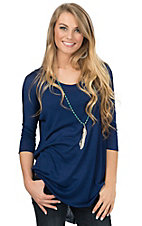 Angie Women's Navy Scoop Neck 3/4 Dolman Sleeve Knit Tunic