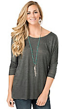 Angie Women's Charcoal Scoop Neck 3/4 Dolman Sleeve Knit Tunic