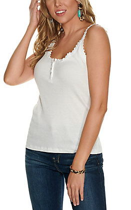 Angie Women's White Lace Trim Henley Tank Top