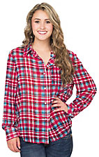 Angie Women's Red & Blue Plaid Chiffon Long Sleeve Button Up Top