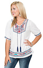 Angie Women's White with Red & Navy Embroidery Short Sleeve Top