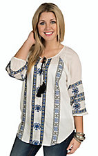 Angie Women's Ivory and Navy Rib Tassel Tie Embroidered Top