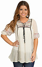 Angie Women's Cream and Navy Woven Embroidery Top