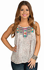 Angie Women's Ivory Embroidered Bib Tank with Split Back